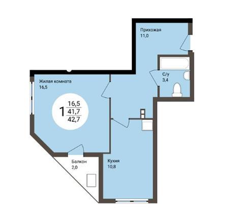Вариант №4857, 1-комнатная квартира в жилом комплексе Ключевой
