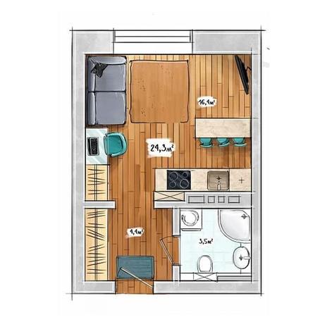 Вариант №3951, 1-комнатная квартира в жилом комплексе БонАпарт