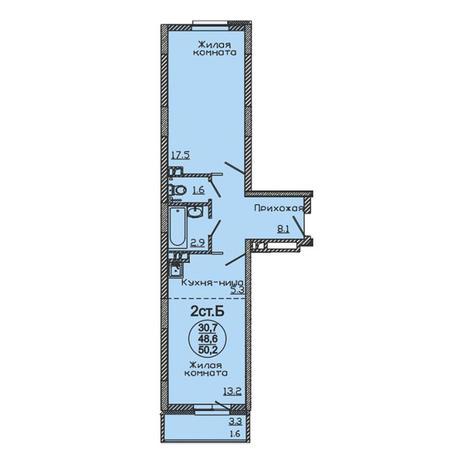 Вариант №3058, 2-комнатная квартира в жилом комплексе
