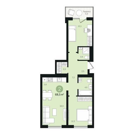 Вариант №6359, 3-комнатная квартира в жилом комплексе
