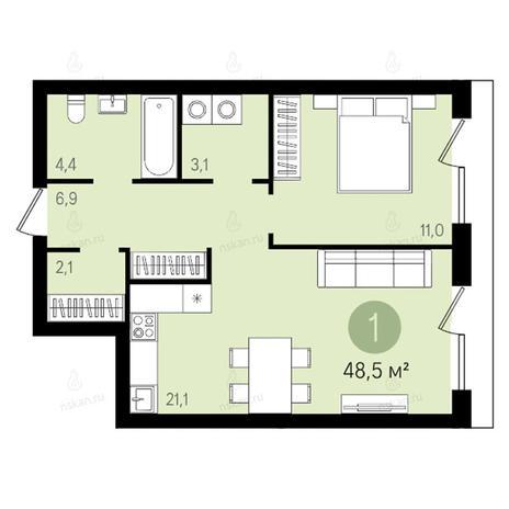 Вариант №2610, 2-комнатная квартира в жилом комплексе Квартал на Никитина
