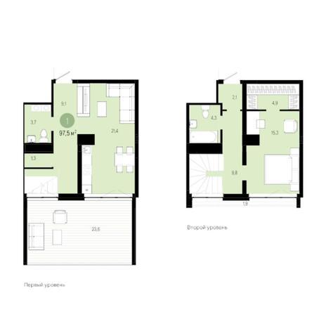 Вариант №6268, 2-комнатная квартира в жилом комплексе