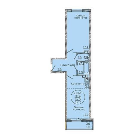 Вариант №3192, 2-комнатная квартира в жилом комплексе Чистая Слобода