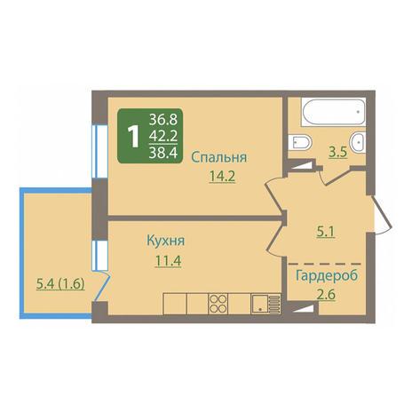 Вариант №3032, 1-комнатная квартира в жилом комплексе Приозерный
