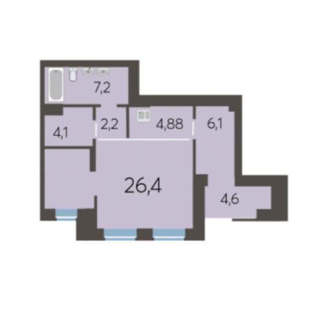 Вариант №5980, 2-комнатная квартира в жилом комплексе