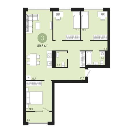 Вариант №3023, 4-комнатная квартира в жилом комплексе