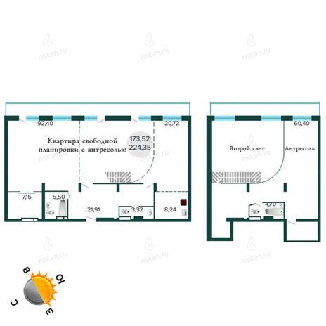 Вариант №1259, 4-комнатная квартира в жилом комплексе Оазис
