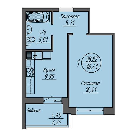 Вариант №3215, 1-комнатная квартира в жилом комплексе Облака