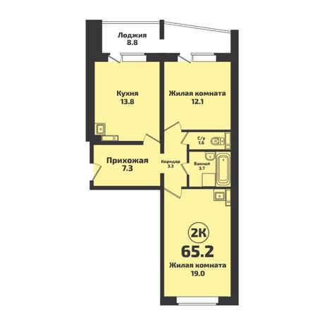 Вариант №4930, 2-комнатная квартира в жилом комплексе