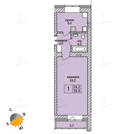 Вариант №1601, 1-комнатная квартира в жилом комплексе