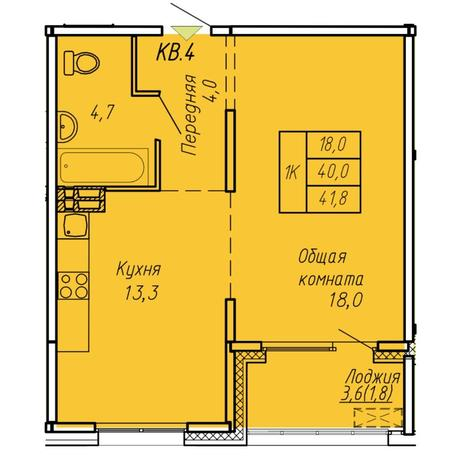 Вариант №6066, 1-комнатная квартира в жилом комплексе