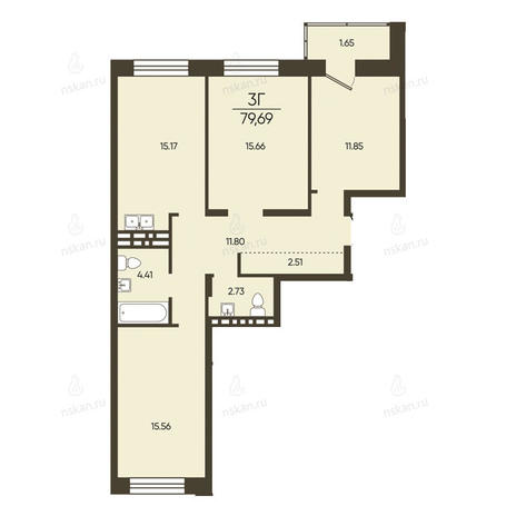 Вариант №2578, 3-комнатная квартира в жилом комплексе