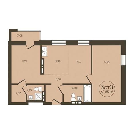 Вариант №3613, 3-комнатная квартира в жилом комплексе История