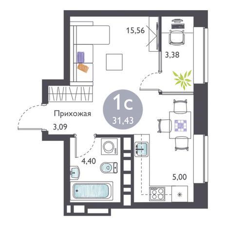 Вариант №3364, 1-комнатная квартира в жилом комплексе