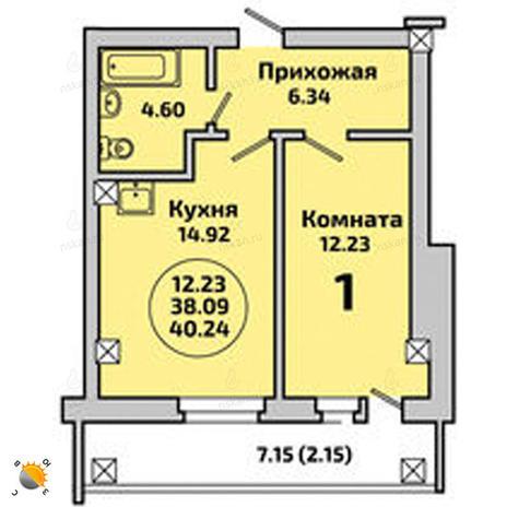 Вариант №2001, 2-комнатная квартира в жилом комплексе Родники