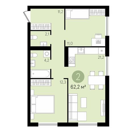 Вариант №3434, 3-комнатная квартира в жилом комплексе