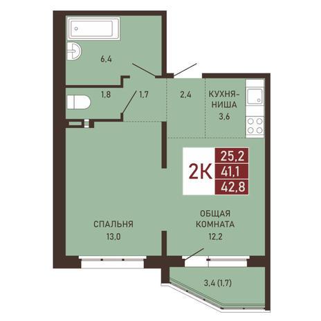 Вариант №3661, 2-комнатная квартира в жилом комплексе