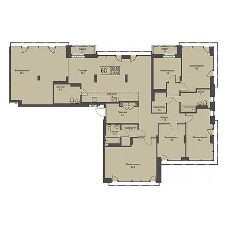 Вариант №3429, 4-комнатная квартира в жилом комплексе