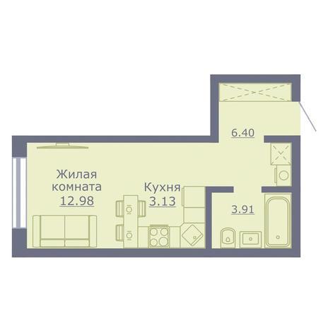Вариант №3500, 1-комнатная квартира в жилом комплексе