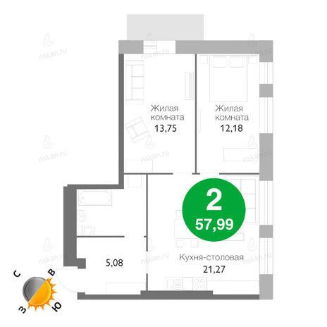 Вариант №1171, 3-комнатная квартира в жилом комплексе