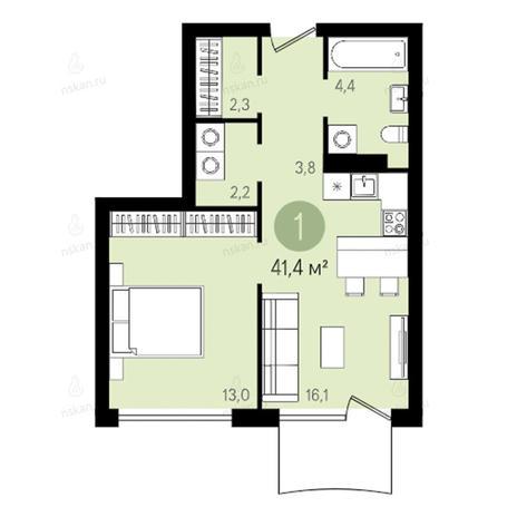 Вариант №2380, 2-комнатная квартира в жилом комплексе Квартал на Никитина