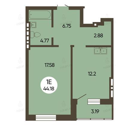Вариант №2500, 1-комнатная квартира в жилом комплексе История