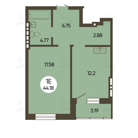 Вариант №2500, 1-комнатная квартира в жилом комплексе