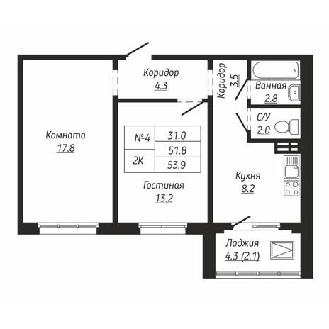 Вариант №6664, 2-комнатная квартира в жилом комплексе