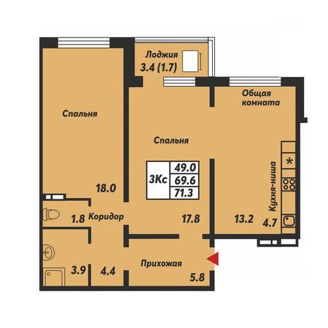 Вариант №3694, 2-комнатная квартира в жилом комплексе