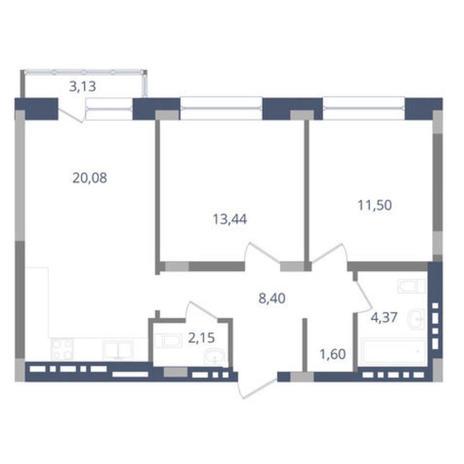 Вариант №3647, 2-комнатная квартира в жилом комплексе