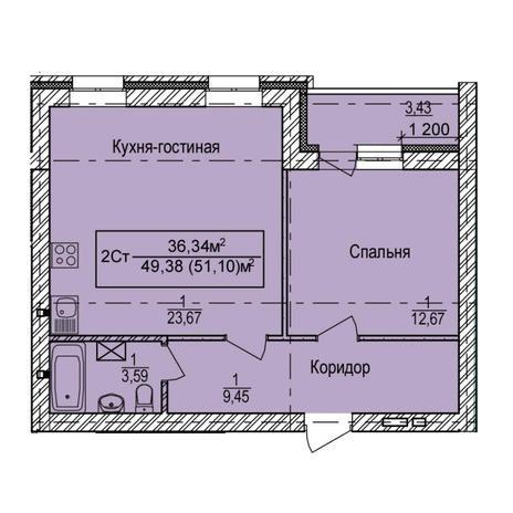 Вариант №6156, 2-комнатная квартира в жилом комплексе