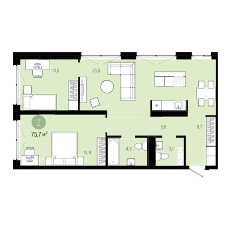 Вариант №6256, 3-комнатная квартира в жилом комплексе