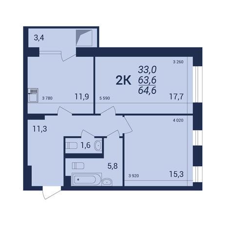 Вариант №3912, 2-комнатная квартира в жилом комплексе NOVA-дом