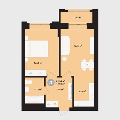 Вариант №5218, 2-комнатная квартира в жилом комплексе