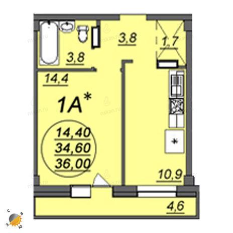 Вариант №2361, 1-комнатная квартира в жилом комплексе Свобода
