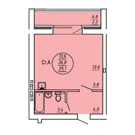Вариант №3587, 1-комнатная квартира в жилом комплексе