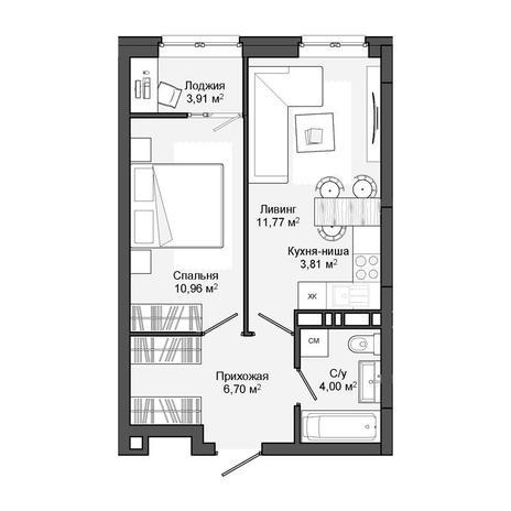 Вариант №3048, 2-комнатная квартира в жилом комплексе