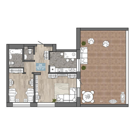 Вариант №3116, 2-комнатная квартира в жилом комплексе