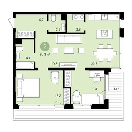 Вариант №4344, 3-комнатная квартира в жилом комплексе