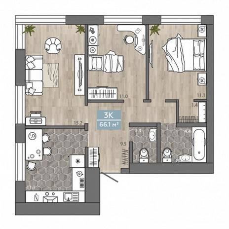 Вариант №4540, 3-комнатная квартира в жилом комплексе