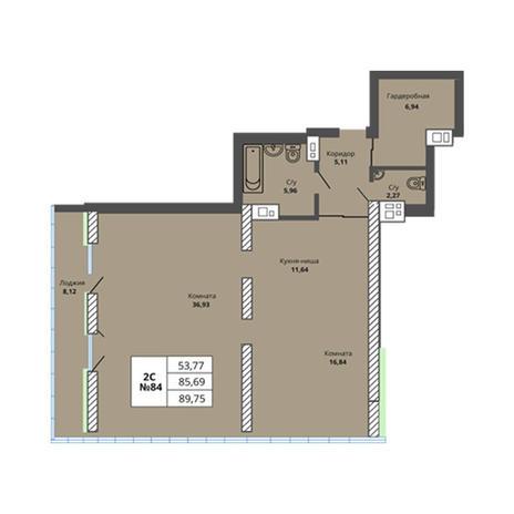 Вариант №2974, 4-комнатная квартира в жилом комплексе