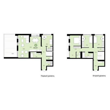 Вариант №6398, 5-комнатная квартира в жилом комплексе
