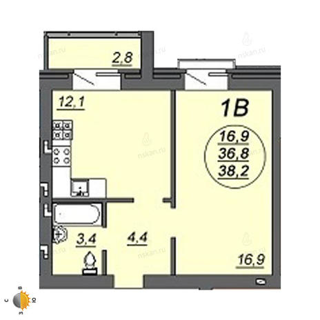 Вариант №2236, 1-комнатная квартира в жилом комплексе