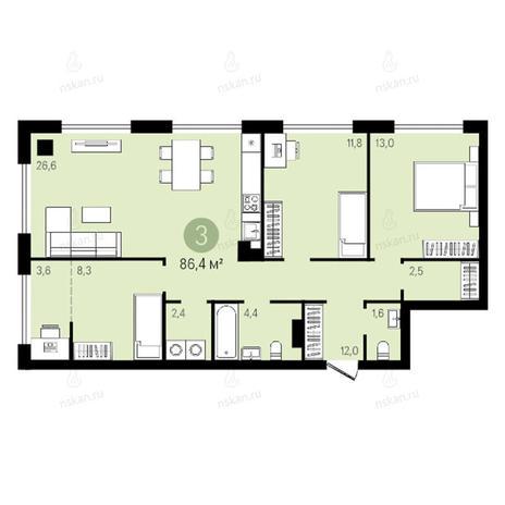 Вариант №2642, 4-комнатная квартира в жилом комплексе Квартал на Никитина