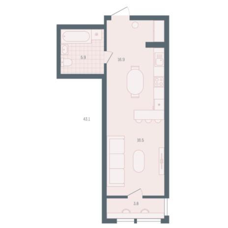Вариант №5905, 1-комнатная квартира в жилом комплексе