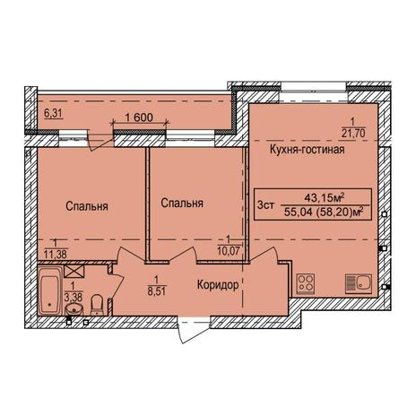 Вариант №6148, 3-комнатная квартира в жилом комплексе Дивногорский