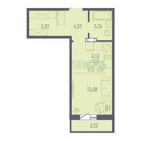 Вариант №3738, 1-комнатная квартира в жилом комплексе