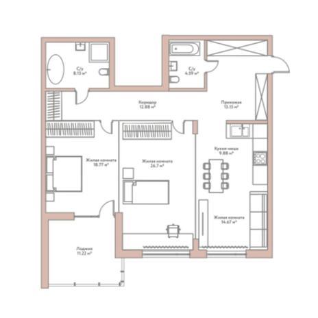 Вариант №5956, 3-комнатная квартира в жилом комплексе