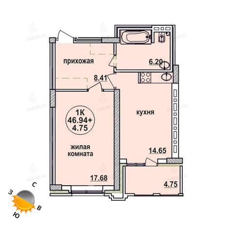 Вариант №619, 2-комнатная квартира в жилом комплексе Заельцовский