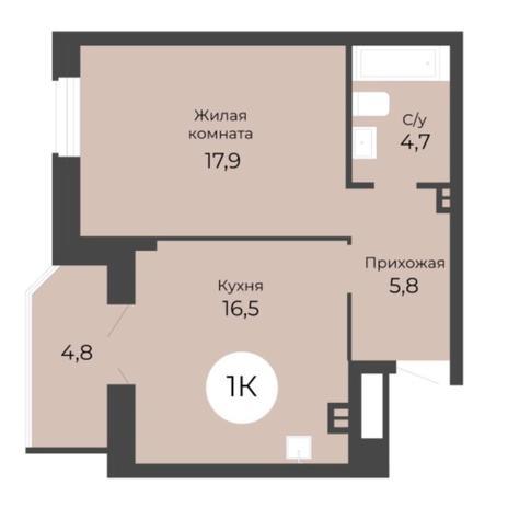 Вариант №5689, 1-комнатная квартира в жилом комплексе Одесса